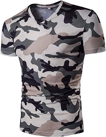 Camisas Camuflaje Casual Camisa Militar Tops V Cuello Manga Corta Slim Polo Manga Corta Manga Corta Básica: Amazon.es: Ropa y accesorios