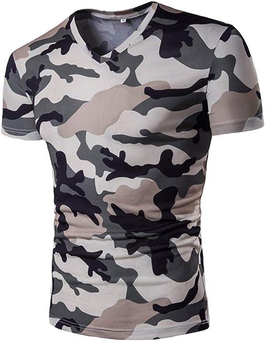 HX fashion Camisas Camuflaje Casual Camisa Militar Tops V Cuello Tamaños Cómodos Manga Corta Slim Polo Manga Corta Manga Corta Básica Ropa: Amazon.es: Ropa y accesorios