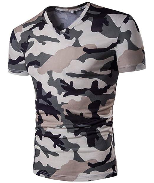 Adelina Camisas Camuflaje Casual Camisa Militar Tops V Cuello Ropa Manga Corta Slim Polo Manga Corta Manga Corta Básica: Amazon.es: Ropa y accesorios