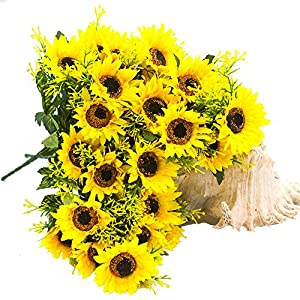 YISNUO Artificial Flowers, Fake Sunflowers Silk Flowers Table Centerpieces Arrangements Home Indoor Decorations Wedding Party Decor 3
