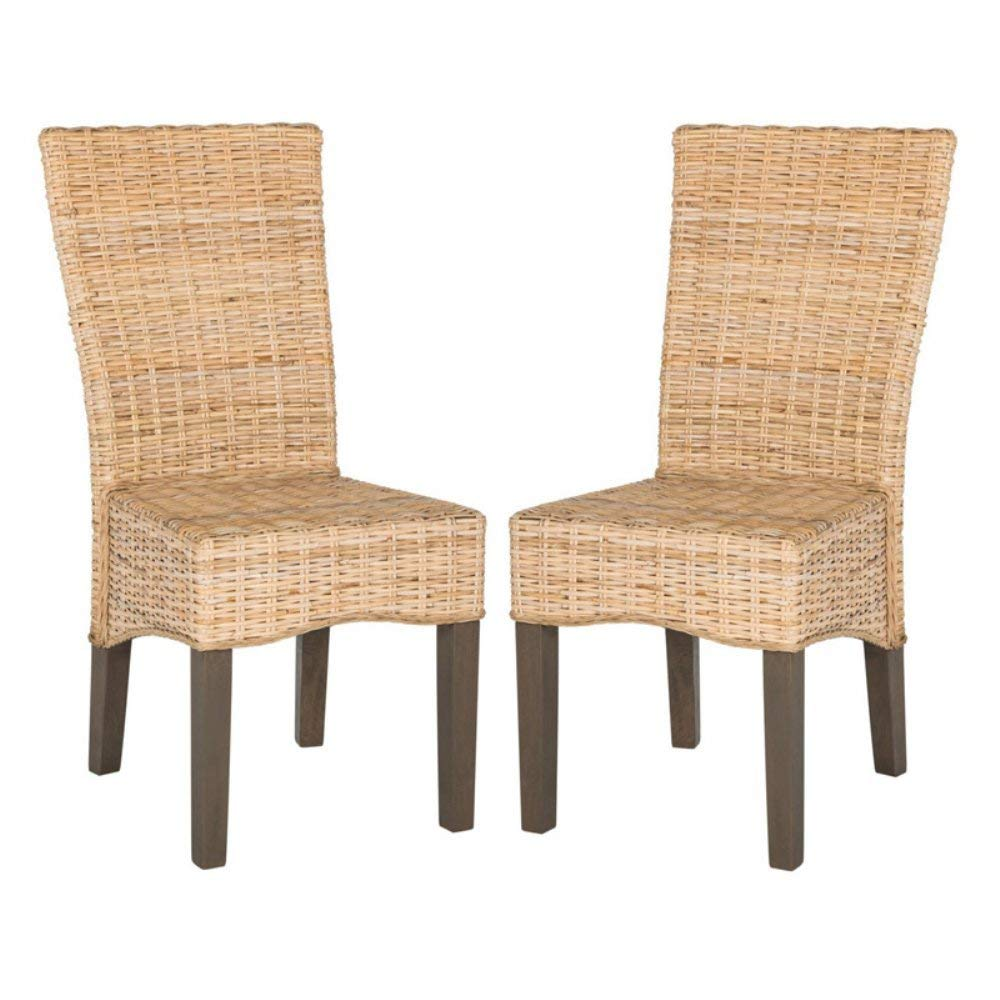 """Safavieh Home Collection Ozias Natural Wicker Dining Chair (Set of 2), 19"""""""