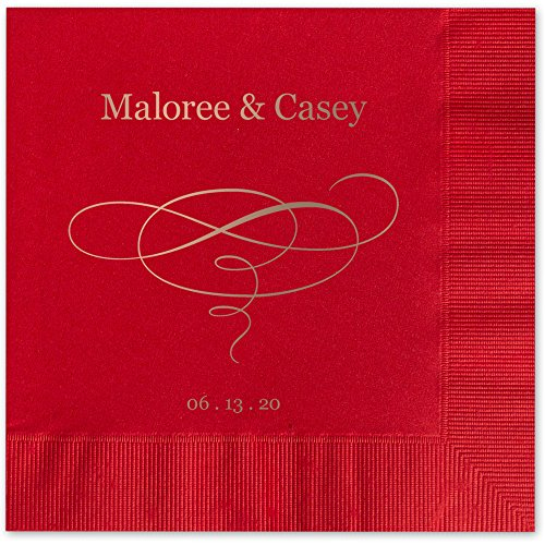 Elegant Swirl Personalized Luncheon Dinner Napkins - Canopy Street - 100 Custom Printed Red Paper Napkins (4021L)