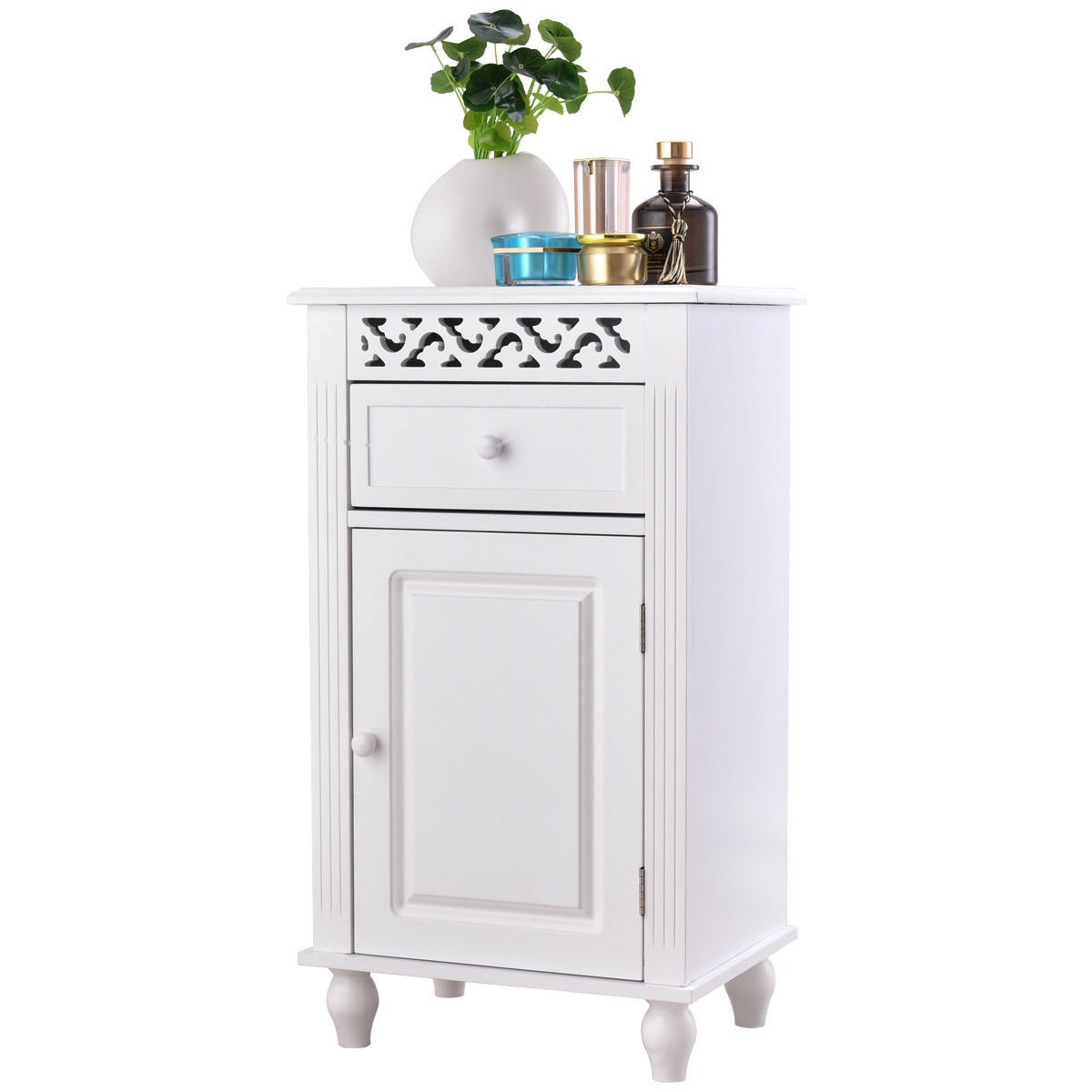 Giantex Storage Floor Cabinet W/One Cabinet Two-Layer Adjustable Shelves & One Drawer Wood Bathroom Cupboard Organizer Kitchen Collection Cabinet Shelf Nightstand Beside End Table White (1 Drawer)
