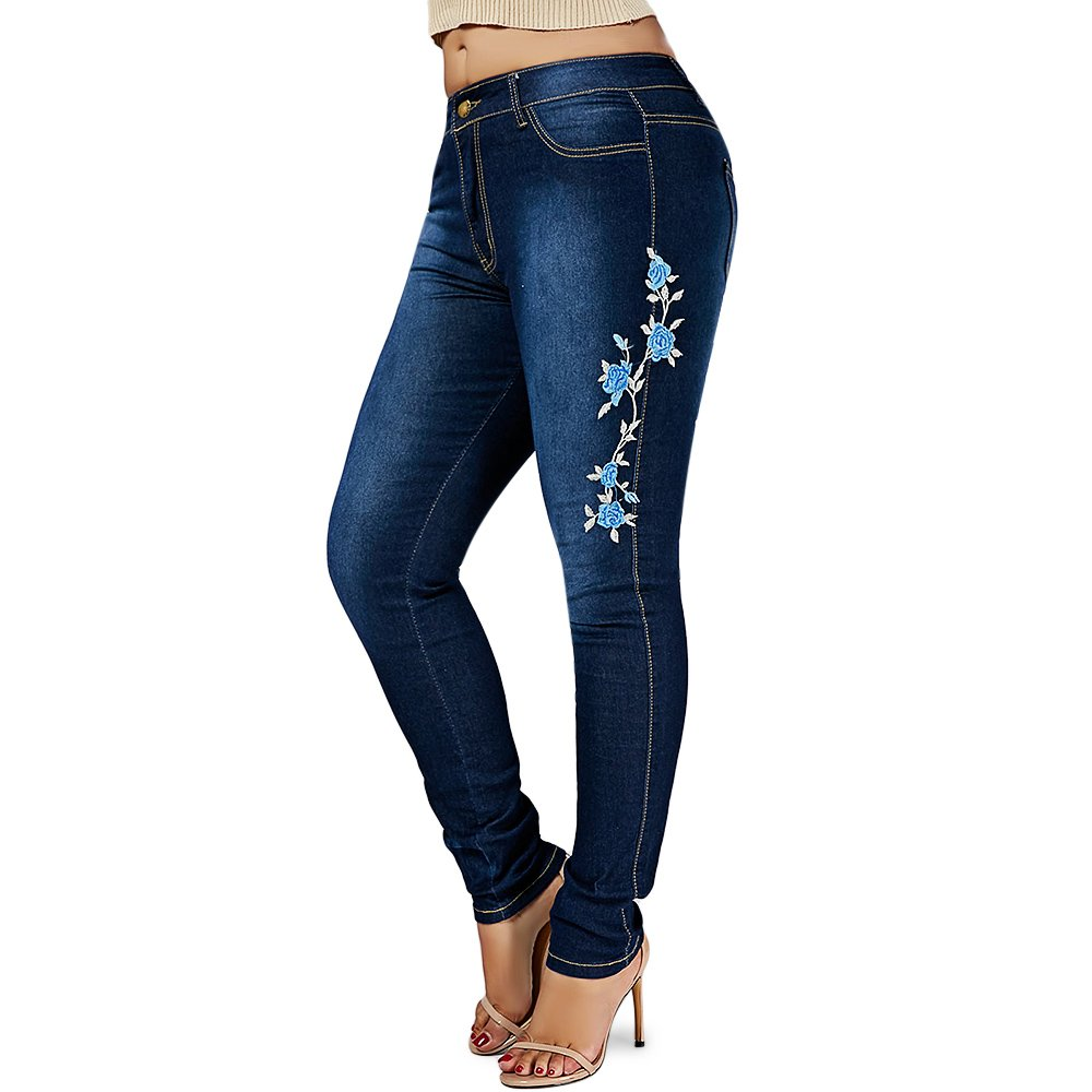 BeautyGal Women's Plus Size High Waist Floral Embroidered Skinny Jeans (Denim Blue 3XL)