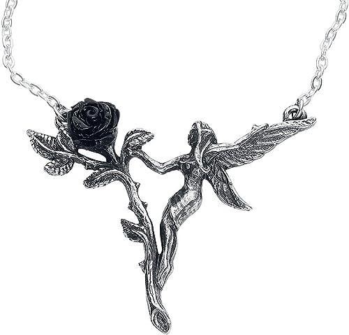 Alchemy Gothic Faerie Glade Garden Fairy /& Black Resin Rose Pewter Pendant