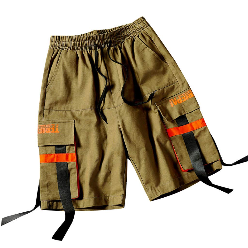 DIOMOR Fashion Mens Summer Outdoors Casual 9 Inseam Cargo Shorts Multiple Pockets Ribbon Overalls Pants Hiking Trunks