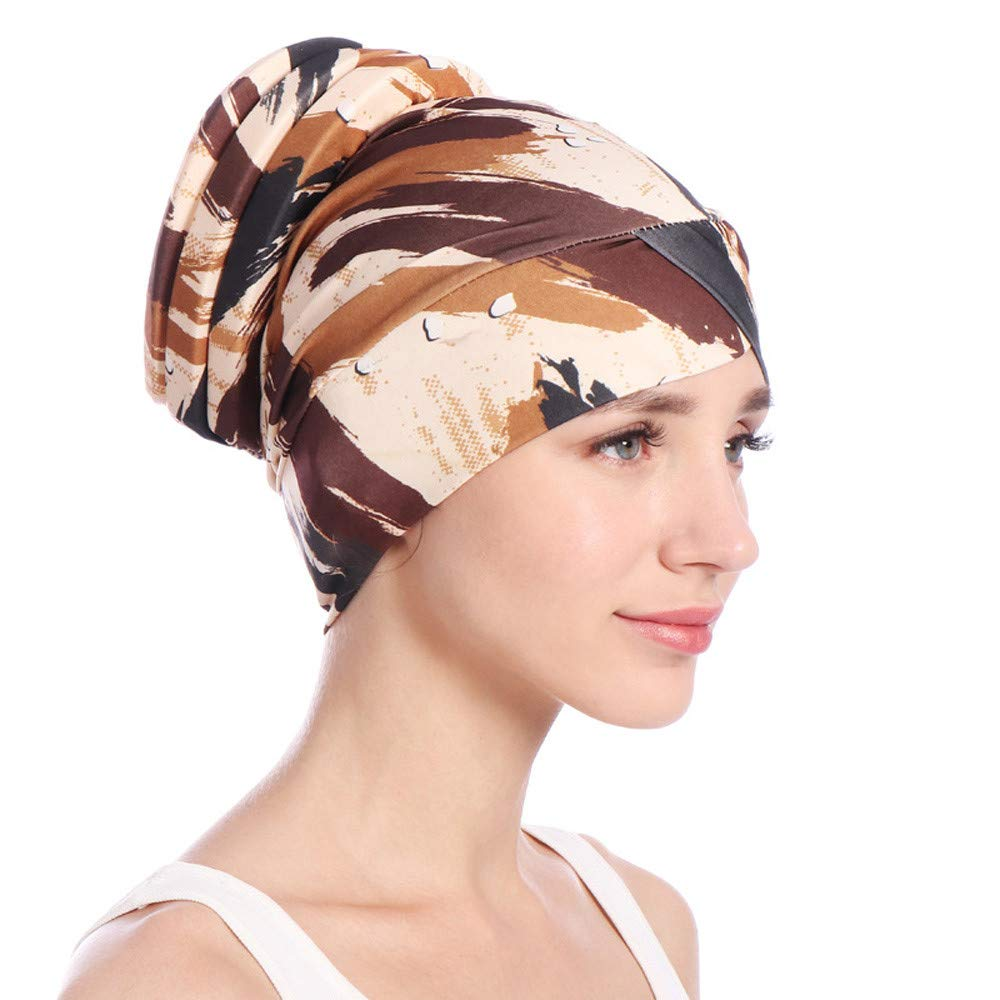 Cap for Men,QHJ Printed India Hat Muslim Ruffle Cancer Chemo Beanie Scarf Turban Wrap Cap