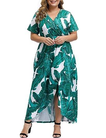 Allegrace Women Plus Size Maxi Dresses Snakeskin Wrap V Neck Summer Casual Flowy Long Dress by Allegrace