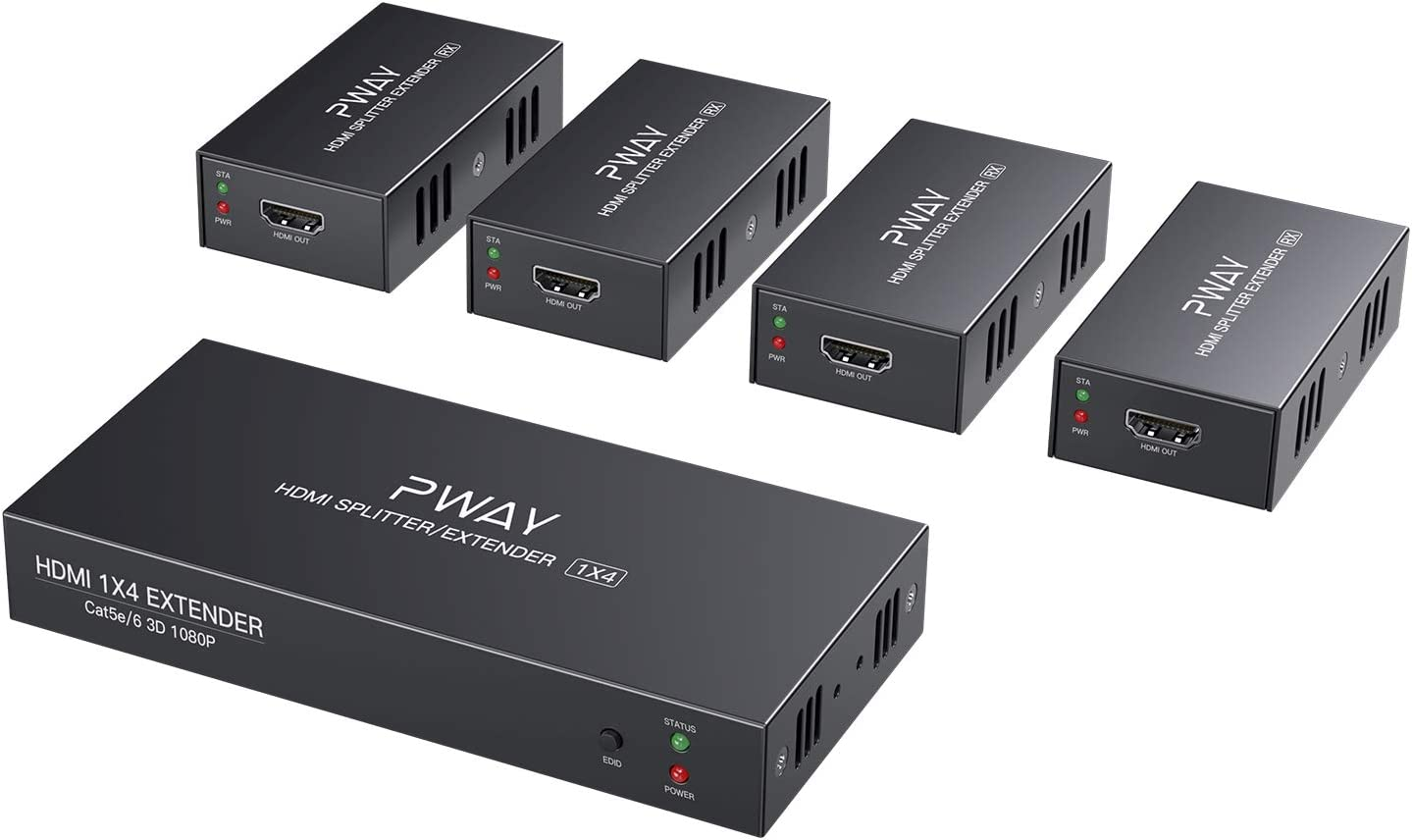 PW-HTS0104 (POC) 1X4 Splitter HDMI Extensor de Divisor Puerto sobre Cat5e/Cat6 Cable Ethernet con Control Sin demora hasta 50m/165ft y Resolución hasta 1080P@60 Hz (1 In 4 out)