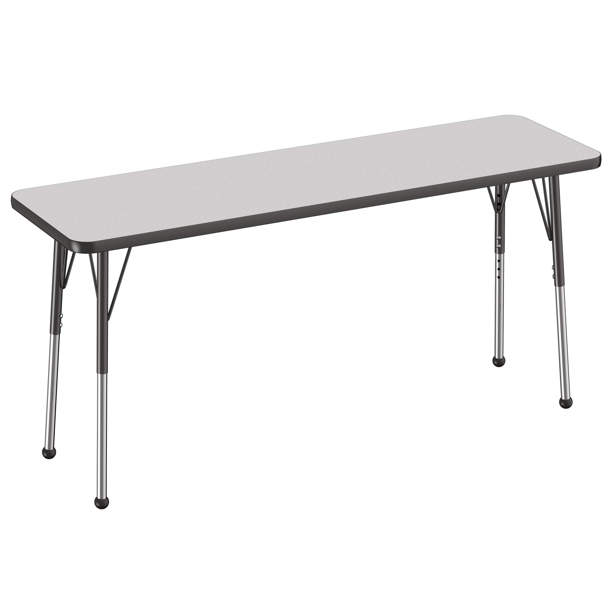 FDP Rectangle Activity School and Office Table (18 x 60 inch) Standard Legs with Ball Glides Adjustable Height 19-30 inches - Gray Top and Black Edge by Factory Direct Partners