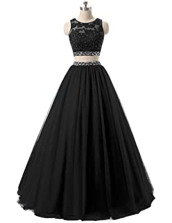 HEIMO Womens Long 2 Pieces Lace Sequined Evening Party Gowns Beaded Appliques Formal Prom Dresses H127