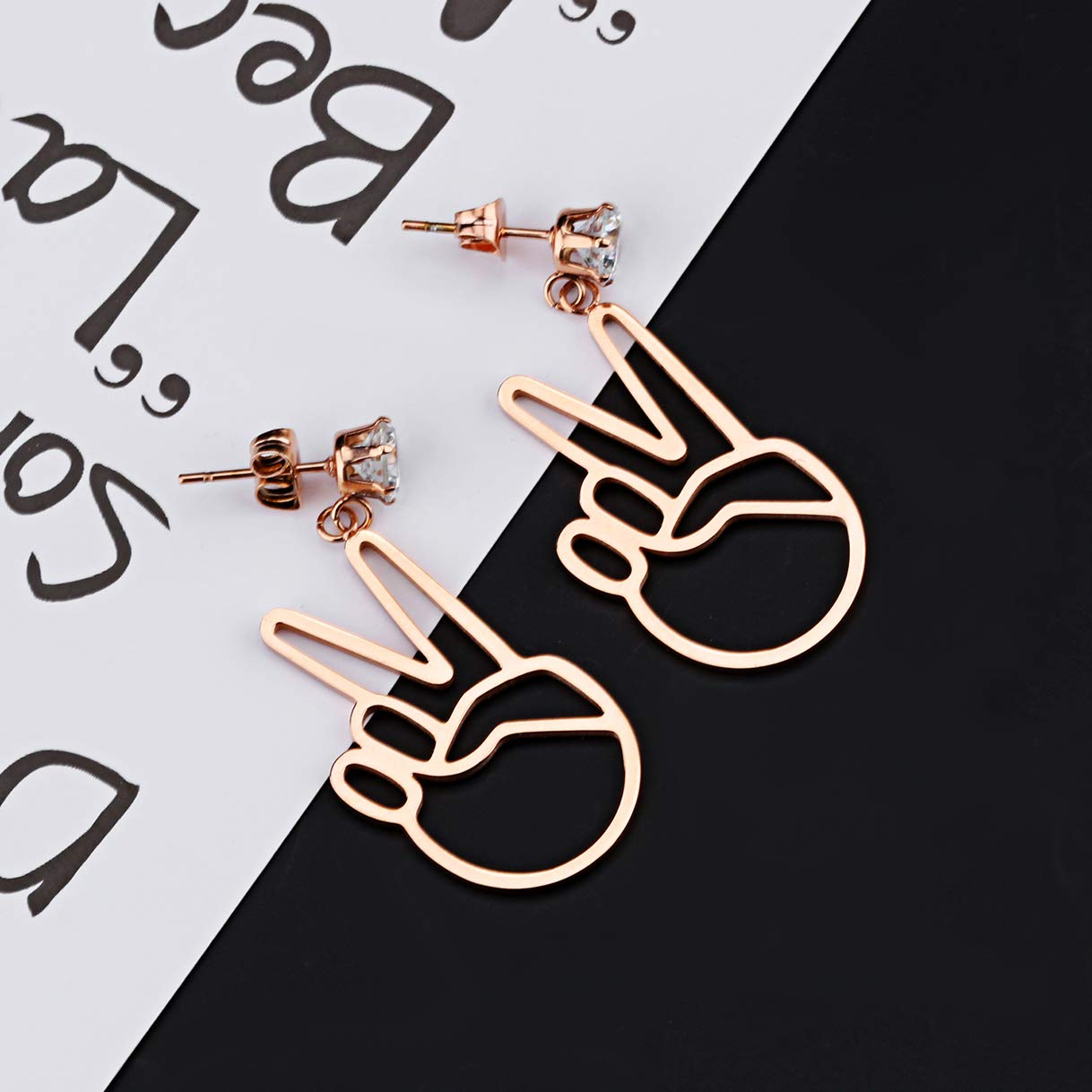 CHARMFAME Rose Gold Plated Stainless Steel Hand Gesture Dangle Earrings Cubic Zirconia Drop Earrings for Women /& Girls