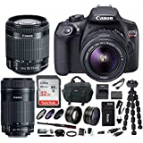 Canon EOS Rebel T6 Digital Camera: 18 Megapixel 1080p HD Video DSLR Bundle With 18-55mm and 55-250mm Lens 32GB SD Card Tripod Filter Kit Bag & Charger - Professional Vlogging Sports & Action Cameras