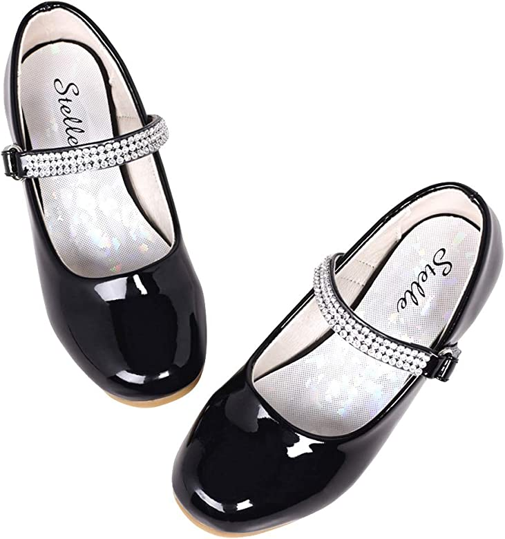 Girls Mary Jane Shoes Children School Wearing Flower Wedding Party Dress Shoes