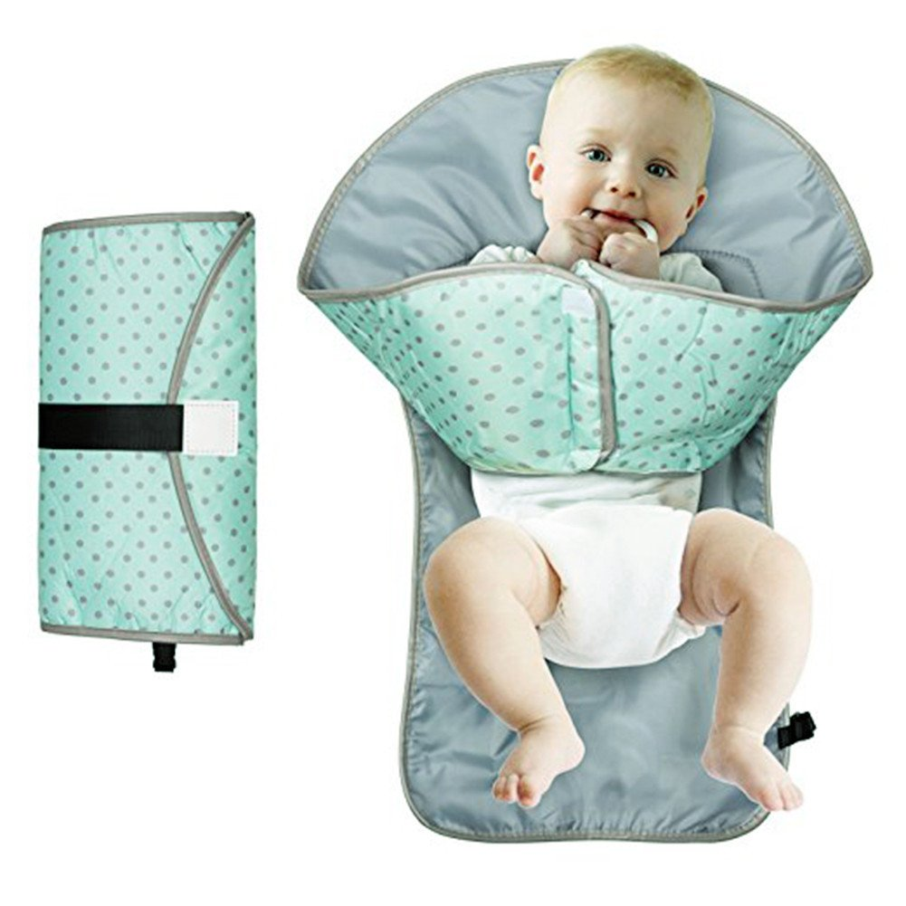 Ruisen Travel Nappy Changing Mat Baby Diaper Clutch Waterproof Portable Clean Hands Changing Pad Green