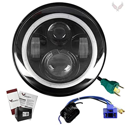 Eagle Lights 7 inch LED Headlight with Halo Ring for Harley Davidson with 2014+ Adapter Harness: Automotive