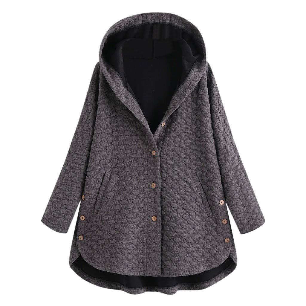 Plus Size Winter Hooded Coat Women Fashion Pure Color Plus Velvet Asymmetrical Hem Coat Outdoor Casual Loose Comfort Cardigan (Gray, 2XL) by Huaze