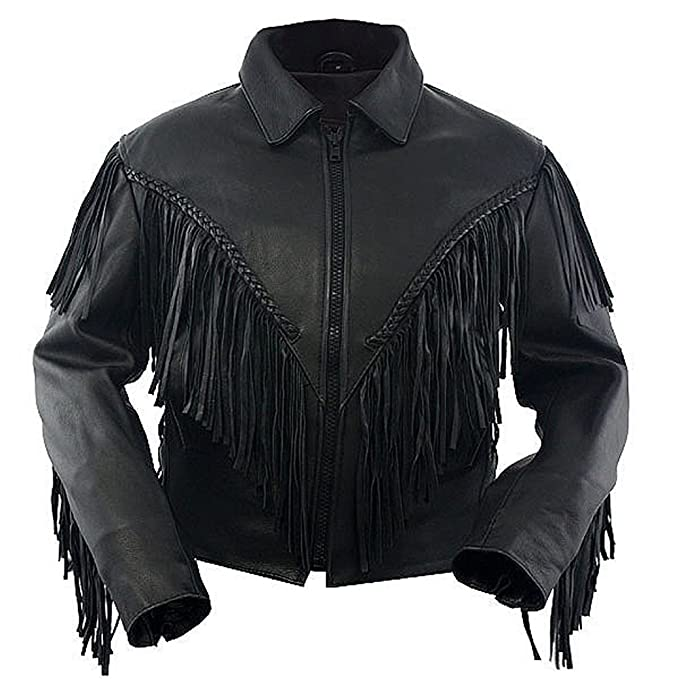 Classyak Moda Hombre de Vaquero Chaqueta de Piel Negro ...