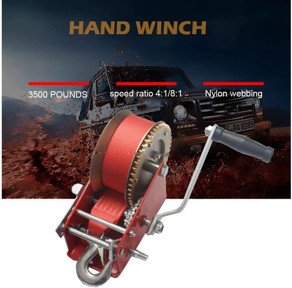 Kinbelle 3500lbs Dual Gear manivela manual para barco ATV remolque resistente RV