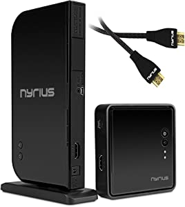 Nyrius Aries Home HDMI Digital Wireless Transmitter & Receiver with Additional HDMI Cable - 2 HDMI Cables Total