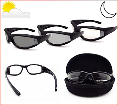 295abefce2 Amazon.com  Light Adjusting Motorcycle Sunglasses Foam Padded for Men and  Women with Safety Polycarbonate Photochromic Lenses. Free Hard Case.