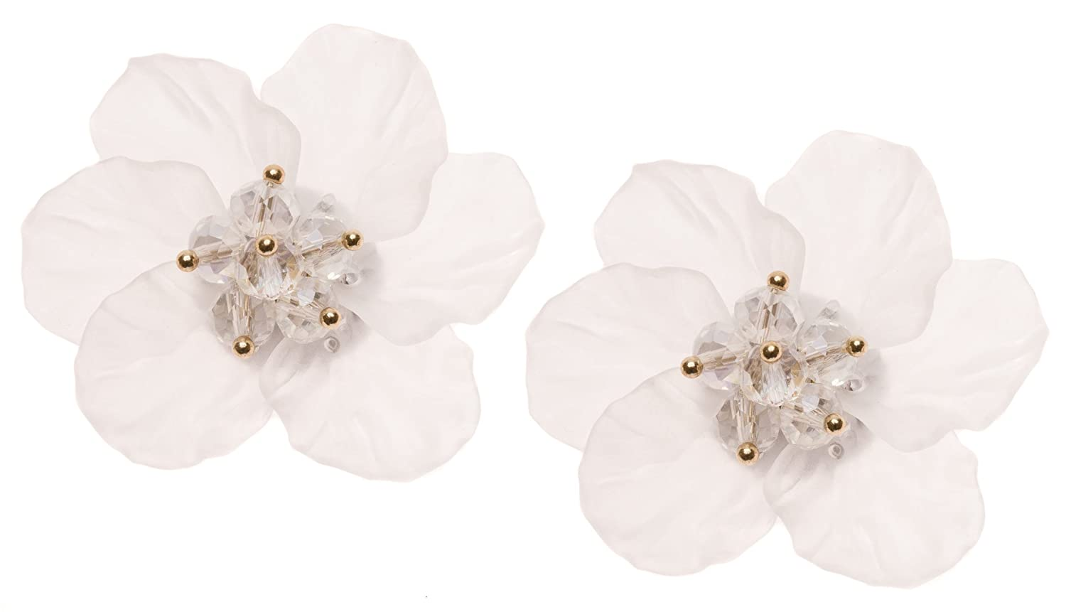 Flower Earrings White Color | Statement Ear Studs Bridal Wedding Jewelry Floral Design