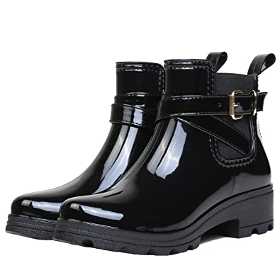Women Ankle High Chelsea Bootie Waterproof Rainboot Rubber Rain Boots