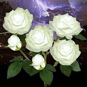 Outdoor Solar Garden Stake Lights,Upgraded LED Solar Powered Light with 6 Rose Flowers, Waterproof Solar Decorative Lights for Patio Pathway Courtyard Garden Lawn (White)