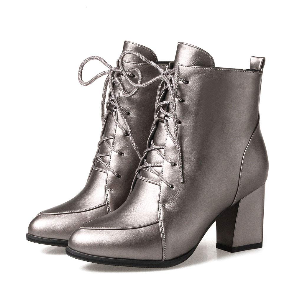 Silver High-Heeled Lacing Short Boots, Thick with Pointed Low-Cut Martin Boots Side Zipper Waterproof Platform Ankle Boots Artificial PU Non-Slip Women's Cotton shoes