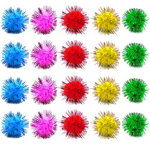 LCZX 80pcs Assorted Color Sparkle Balls Cat Toy Balls Tinsel Pom Poms Glitter for Cat Kittens