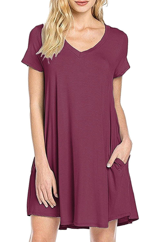 1e405e30cb49 MOLERANI Women s Casual Plain Simple Pocket T-Shirt Loose Dress at Amazon  Women s Clothing store