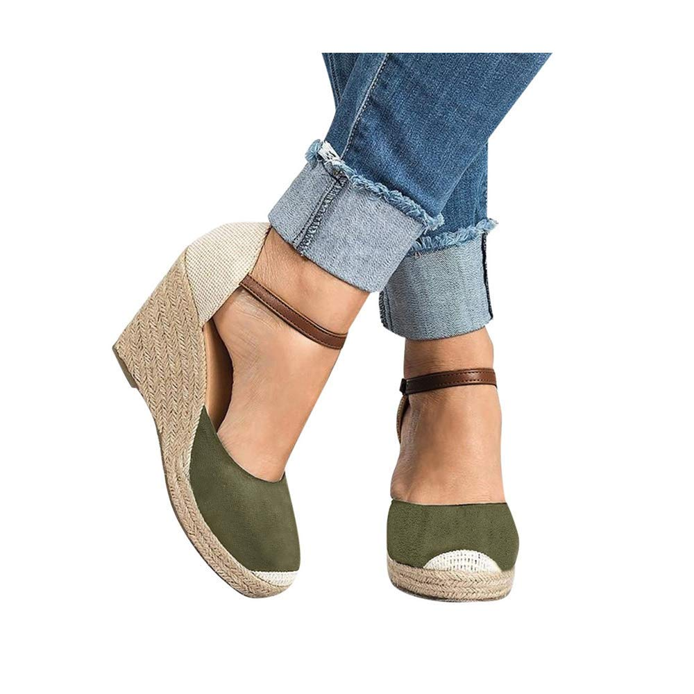 Women Wedge Sandals, Women's Peep Toe Ankle Strap Buckle Espadrille Summer Flatform Shoes (US:5.0, Green) by sweetnice Women Shoes