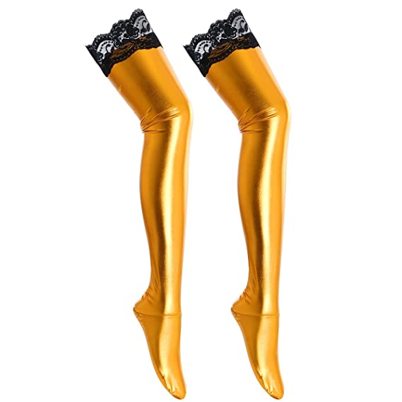 etrado fashion Halterlose Overknee Str/ümpfe in Wetlook Optik