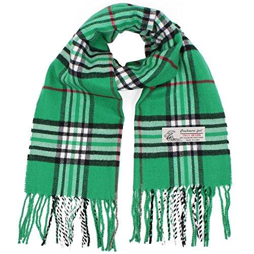 "Soft Plaid Check Winter Scarf Warm Oblong 12""x72"" Fringe Unisex (One Size, Green) ()"