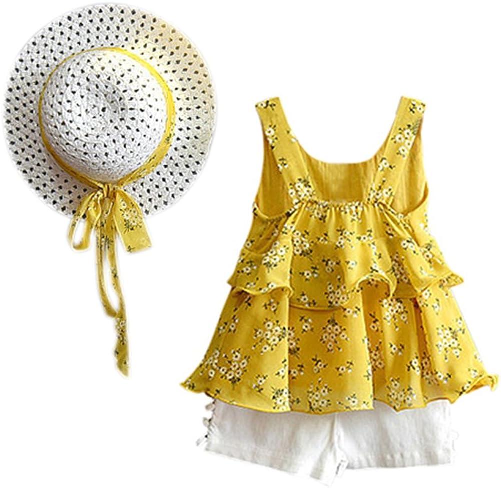 Amyove Clothing Sets Baby Girls Sleeveless Pearl Bowknot Floral Printing Princess Tops Shorts Hat Set