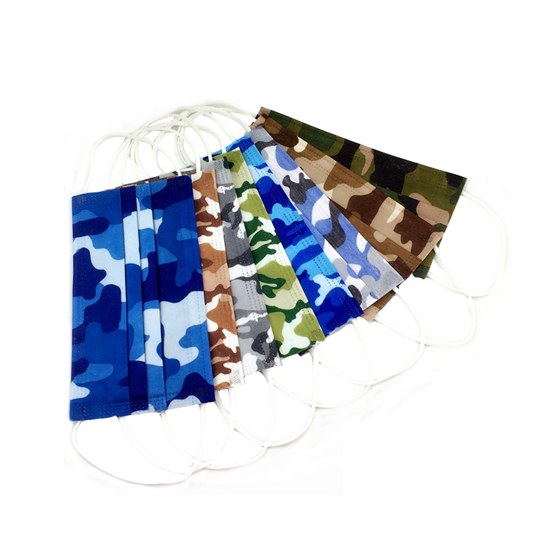 Flyusa 50 Pcs Camouflage Pattern Disposable Earloop Non Woven Face Mask Surgical Anti Dust Fog Filter Outdoor Mouth Cover by Flyusa