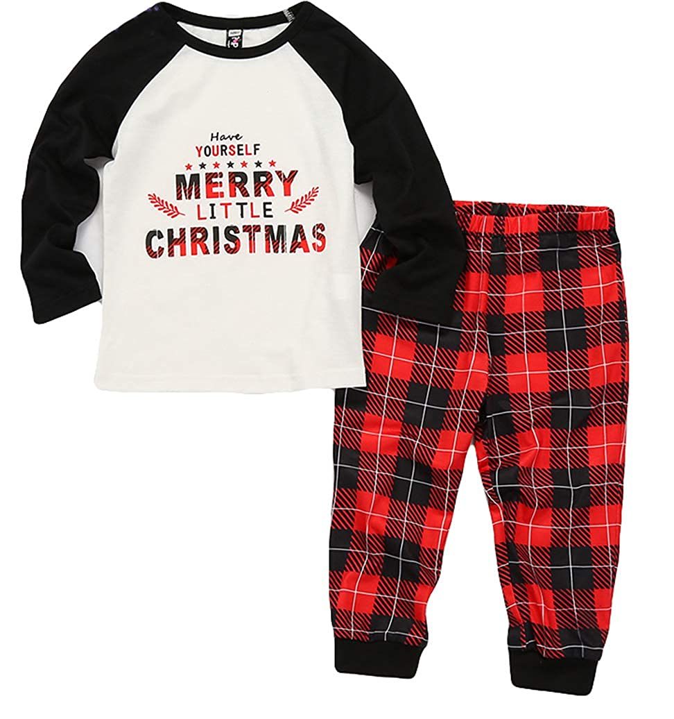 1078c48453 Amazon.com  Family Matching Plaid Christmas Pajamas Pjs Sets Letter Printed  Color Block Top Plaid Pants Christmas Sleepwear Family  Clothing