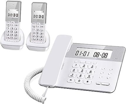 ZWS Telefonía Fija Sistema de teléfono inalámbrico expandible Sistema de contestador de teléfono inalámbrico y Pantalla retroiluminada 1 Auriculares inalámbricos (Blanco) Teléfonos de Teclas Grandes: Amazon.es: Electrónica