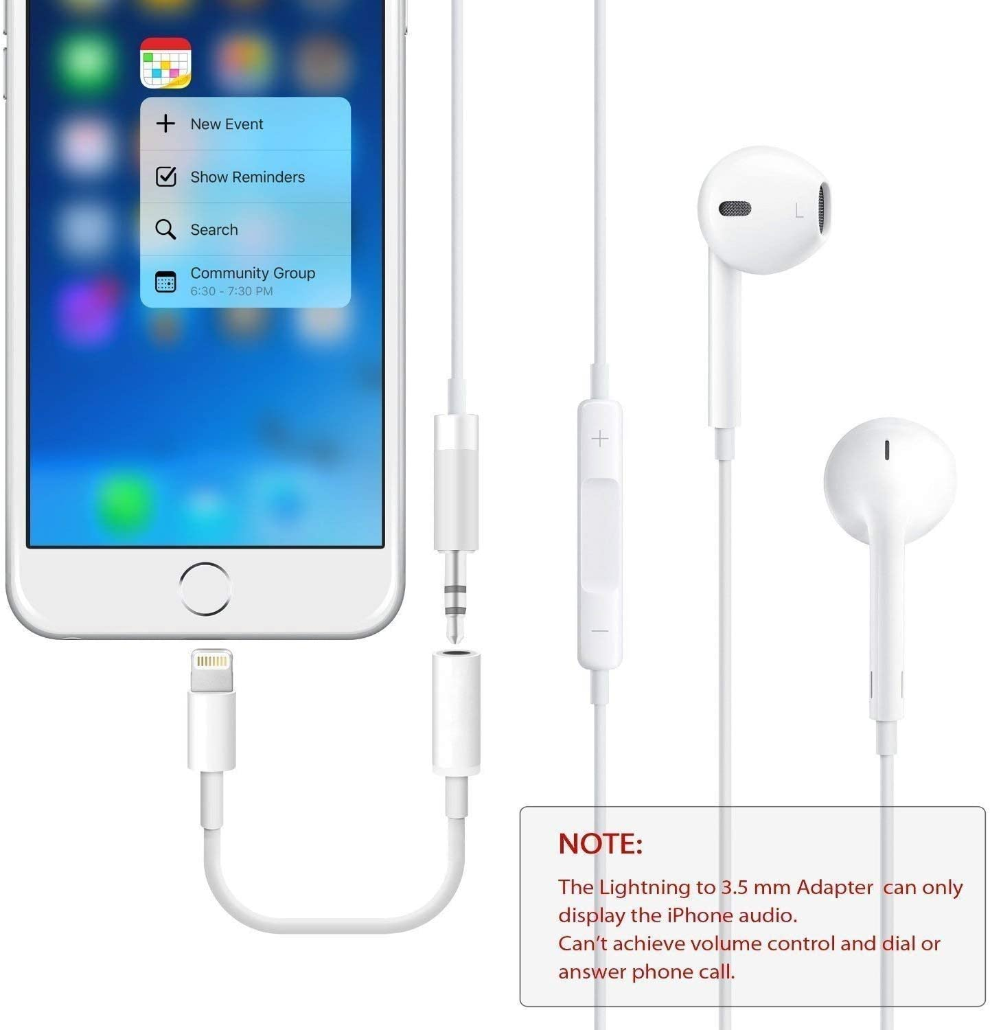 2 Pack Cellphone Cable Earphones//Headsets Converter Support iOS 12//11-Upgraded Compatible with iPhone XS//XR//X//8//8 Plus//7//7 Plus//ipad//iPod Lighting to 3.5mm Headphones//Earbuds Jack Adapter