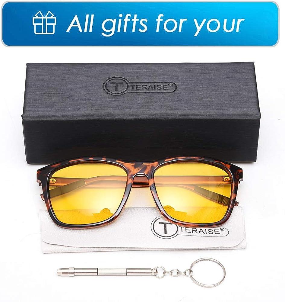 HD Polarized Yellow Lens Fashion Sun Glasses TERAISE Night Glasses Driving Anti Glare for Men and Women