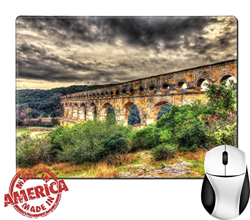 """Luxlady Natural Rubber Mouse Pad/Mat with Stitched Edges 9.8"""" x 7.9"""" IMAGE ID: 36866554 HDR image of Pont du Gard ancient Roman aqueduct listed in UNESCO"""