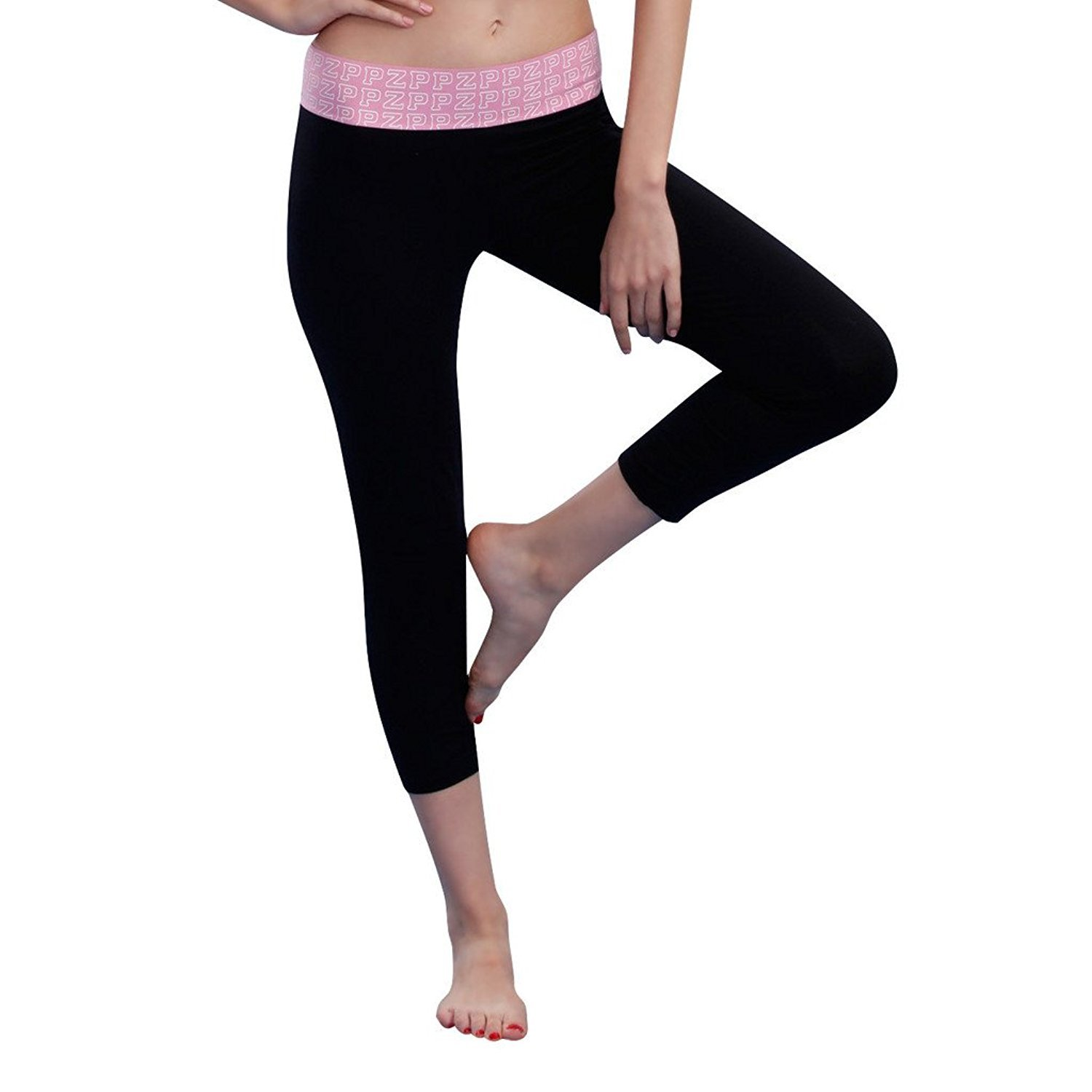 Women's Tight Yoga Capris Pants Stretchy Sports Leggings Black XS-L by Generic
