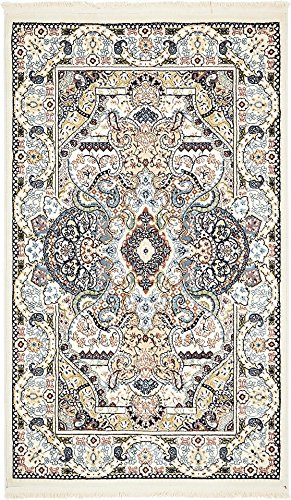 Unique Loom Narenj Collection Classic Traditional Medallion Textured Ivory Area Rug (3
