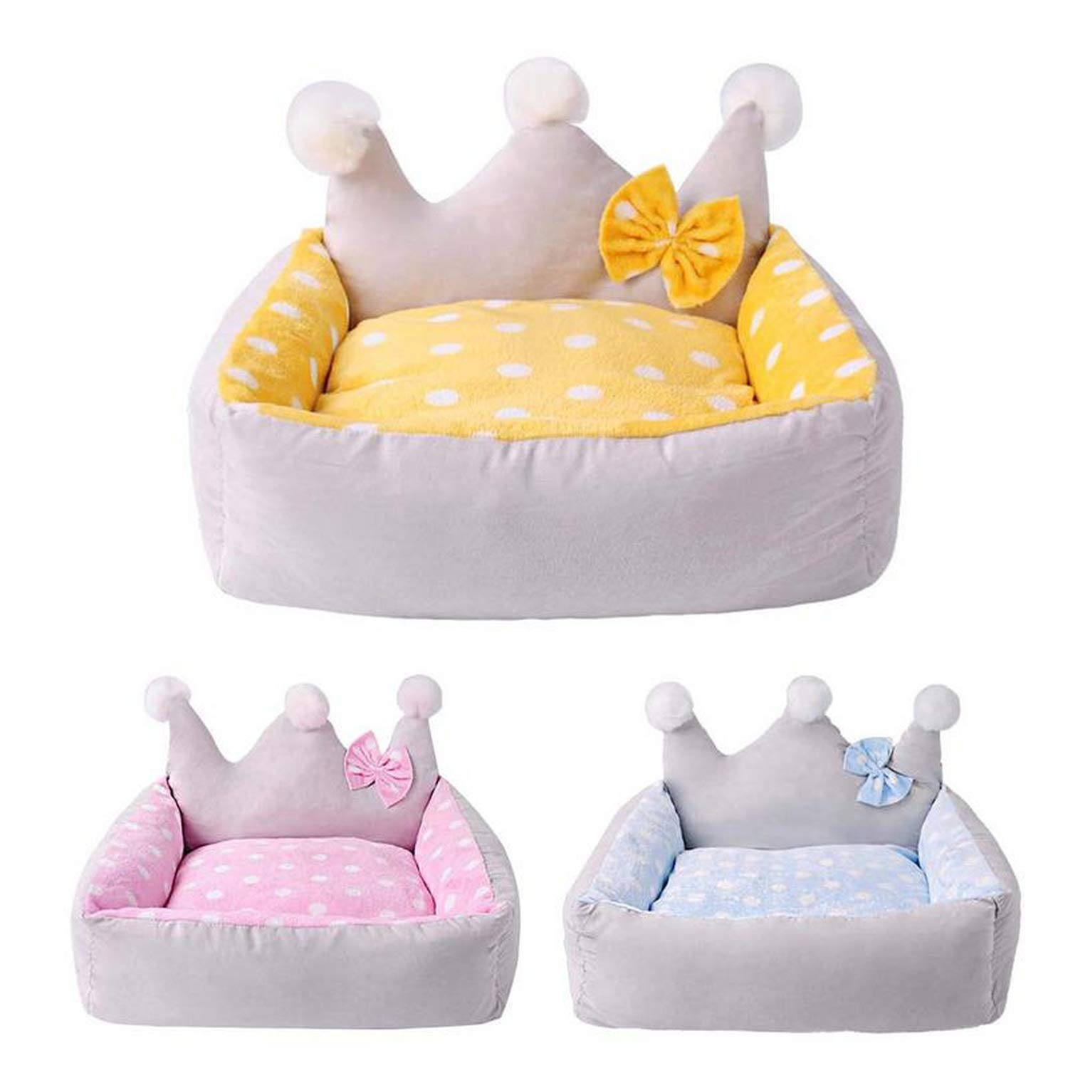 Amazon.com : Colorful-World Dog Bed Crown Shape with Bow ...