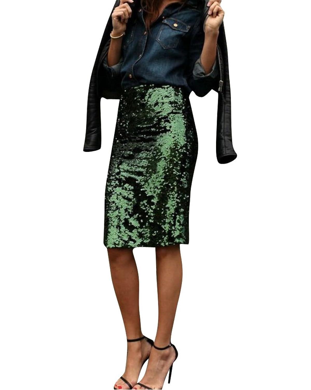 ecc09bacda Mujer Midi Faldas Tubo Largas Cintura Alta Elástico Falda de Lápiz 50% ...