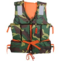 Yosoo Camouflage Adult Swimming Life Jacket Polyester Floating Foam Buoyancy Vest Aid with Whistle Boating Fishing Drifting Ski Water Sports Safety Supply Lifesaving Vest