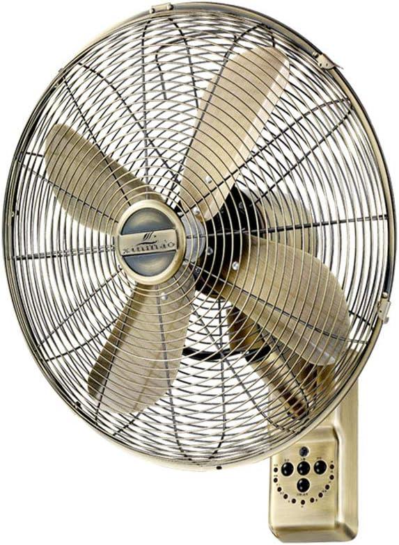 Wall Fan ALY® Ventilador De Pared De Metal Vintage, Oscilante, 50w, Mando A Distancia Y Temporizador, Silencioso, 16 Pulgadas