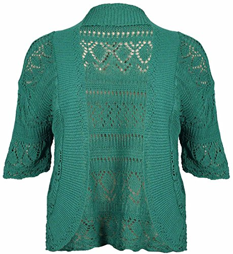 30 Ladies Knit Size Jade Open Cardigan 14 Shrug Sleeve OWASI Bolero Green Look Plus Short Crochet Girly qAp6E6