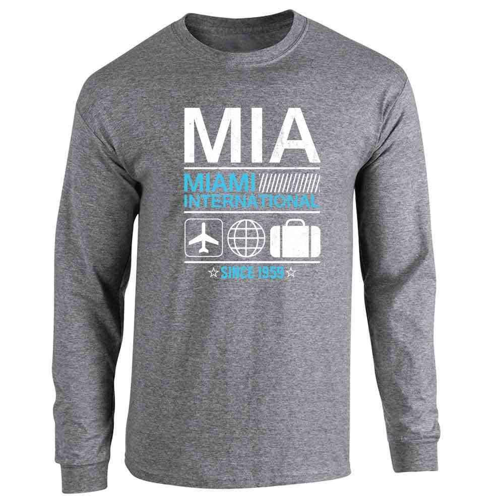 Pop Threads MIA Miami Airport Code Since 1959 Travel Long Sleeve T-Shirt