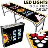 Portable LED Beer Pong Table – 8ft & Easy Folding w/ Adjustable Height – Cup Holes Cut Out Design w/ Yellow Lights – Perfect for Tailgates, BP Parties, Flip Cup By Drinking Game Zone